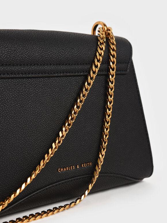 Embellished Push-Lock Bag, Black, hi-res