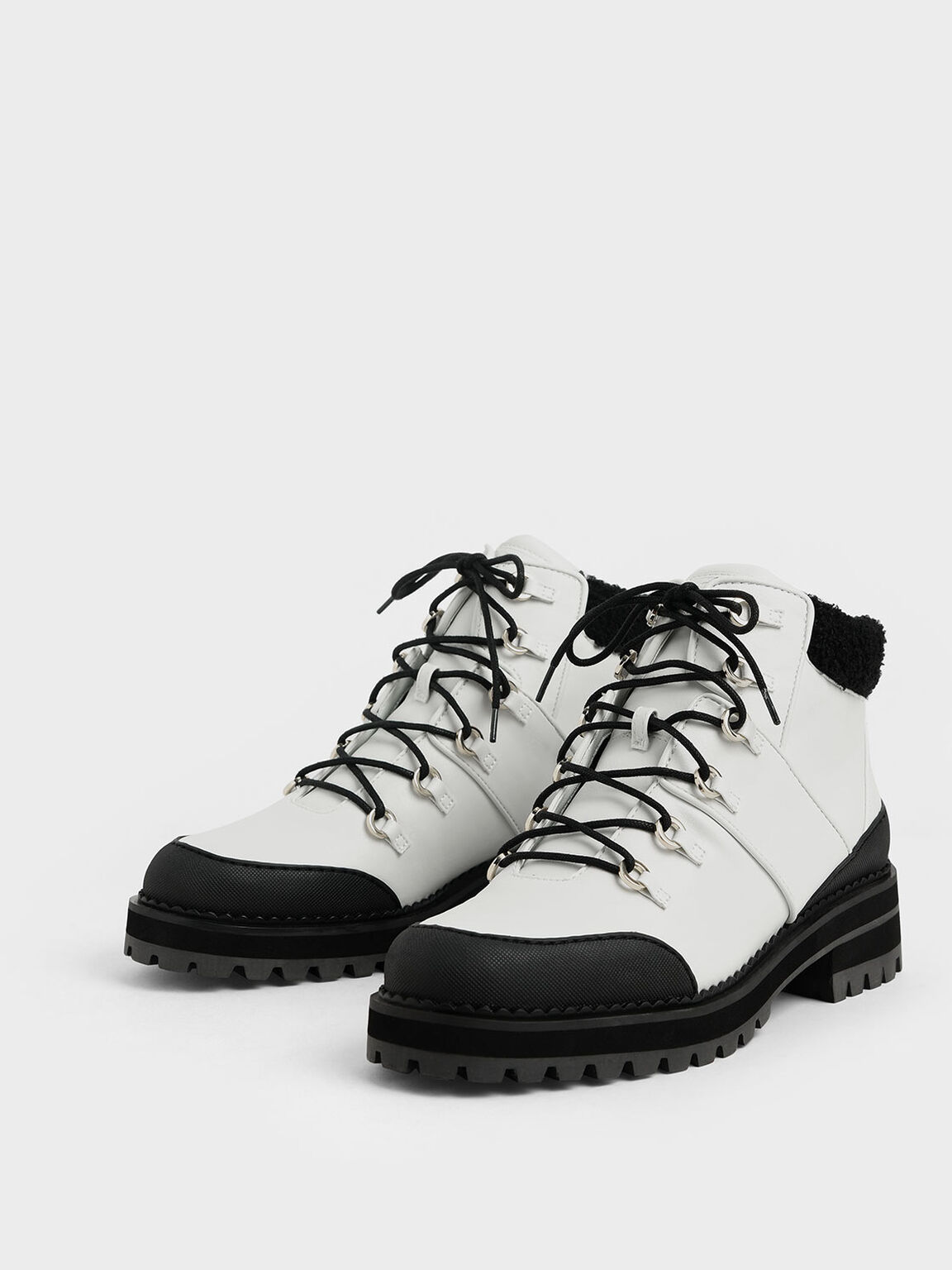 Two-Tone Lace-Up Hiking Boots, White, hi-res
