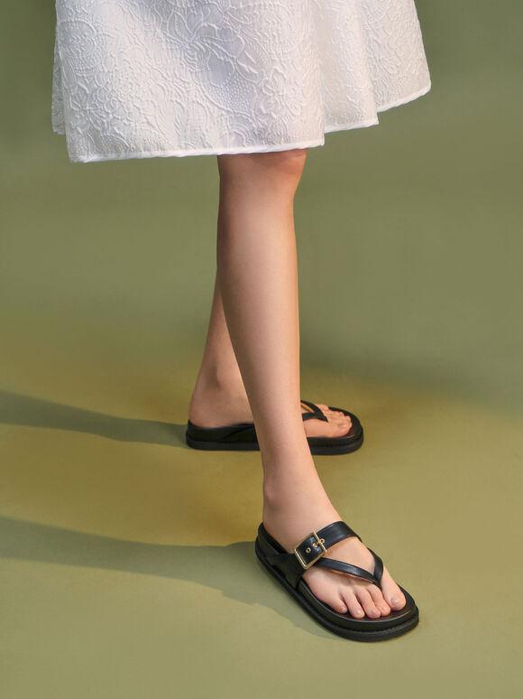 Buckled Thong Sandals, Black, hi-res
