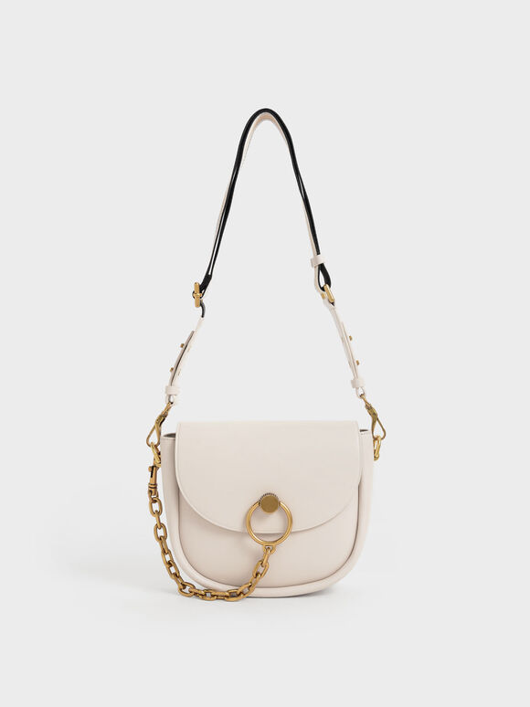 Chunky Chain-Link Saddle Bag, Ivory, hi-res
