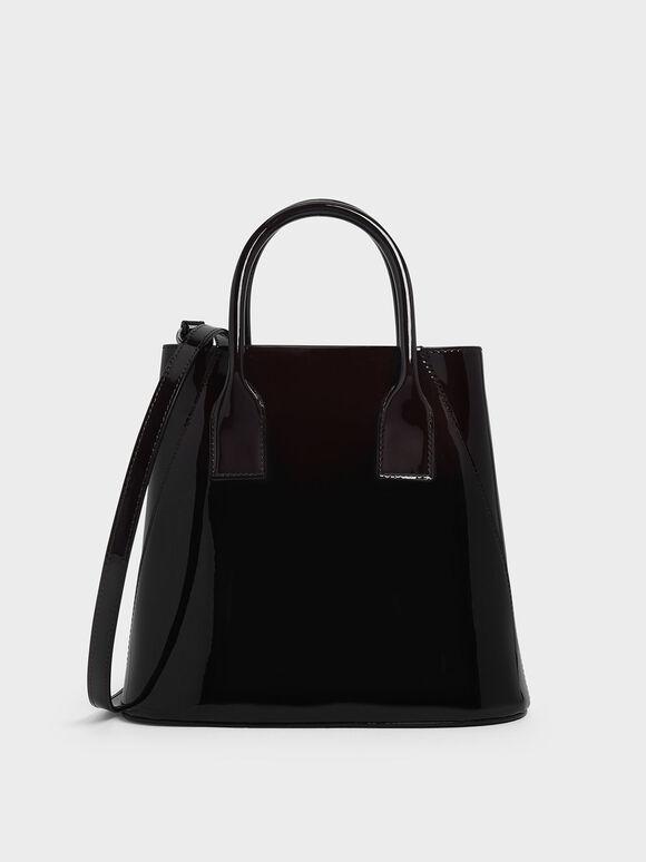 Leather Boxy Bucket Bag, Prune, hi-res