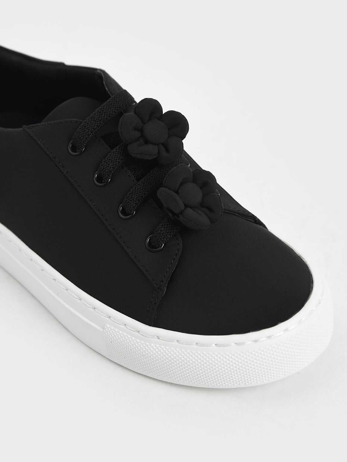 Girls' Flower Embellished Sneakers, Black, hi-res