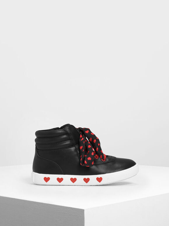 Kids' Heart Print High-Top Sneakers, Black, hi-res