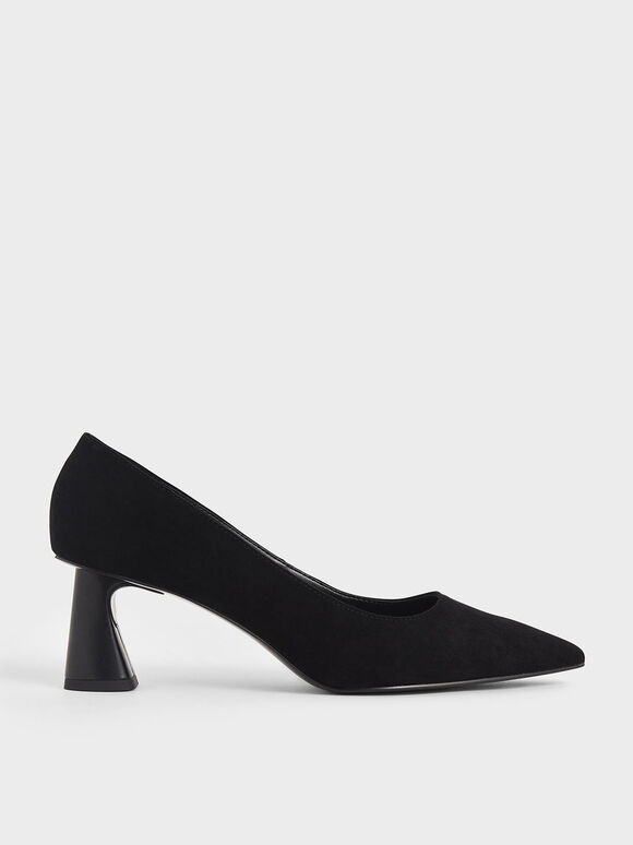 Textured Sculptural Heel Pumps, Black, hi-res