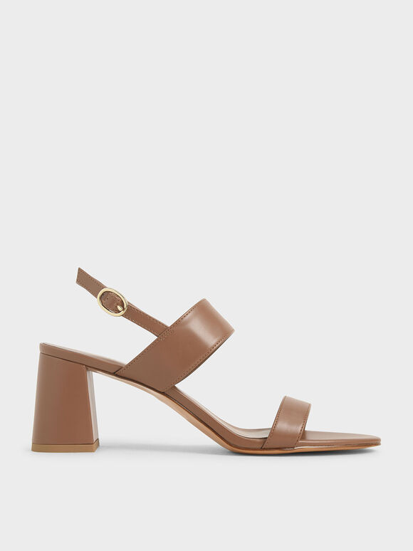 Slingback Heeled Sandals, Brown, hi-res