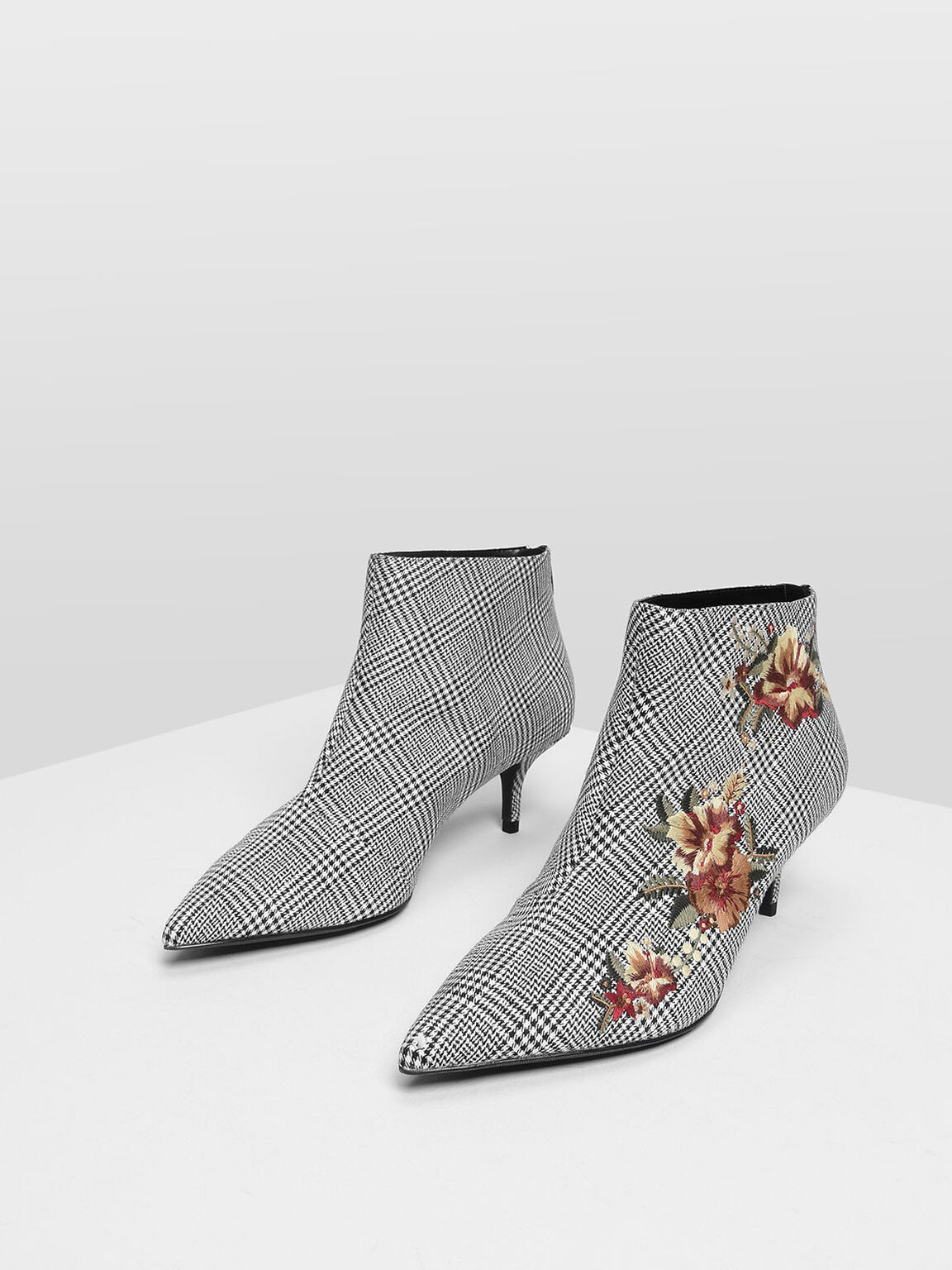 Floral Embroidery Kitten Heel Boots, Multi, hi-res