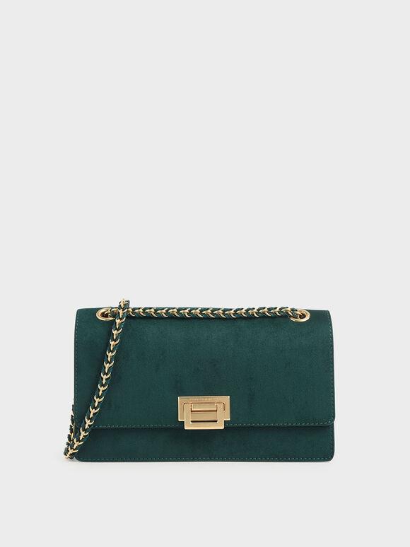 Textured Chain Handle Bag, Dark Green, hi-res