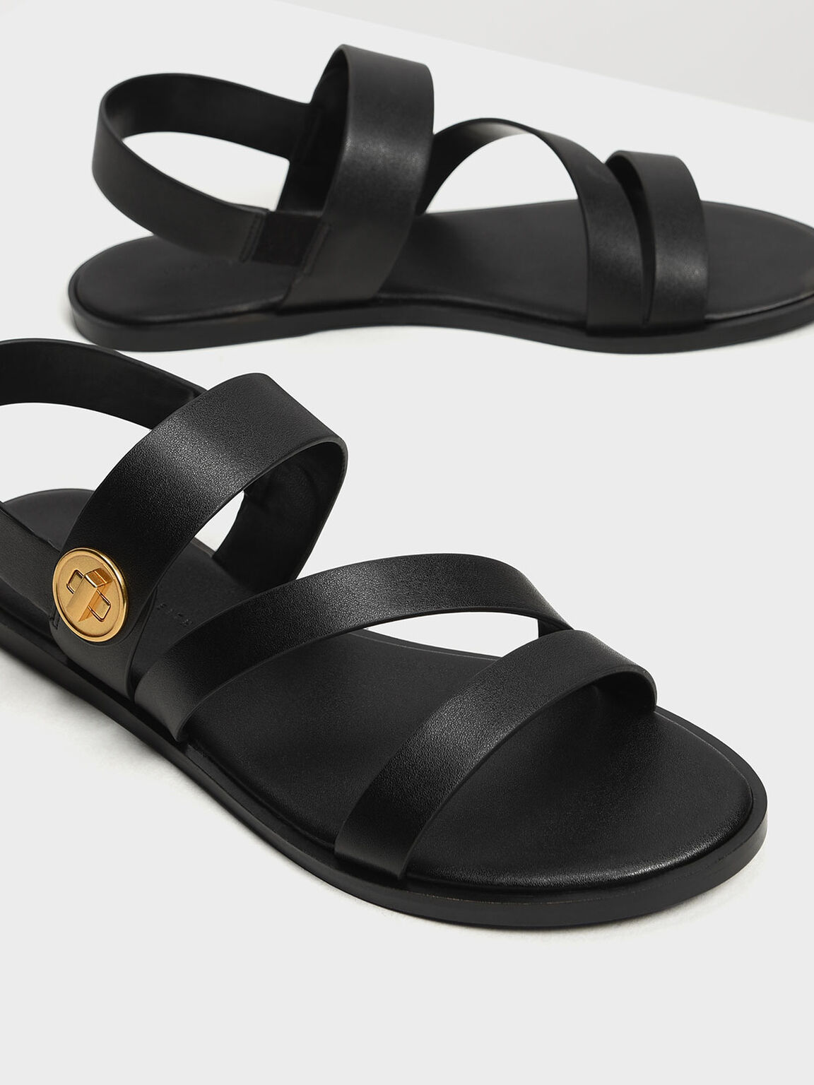 Asymmetrical Strappy Sandals, Black, hi-res