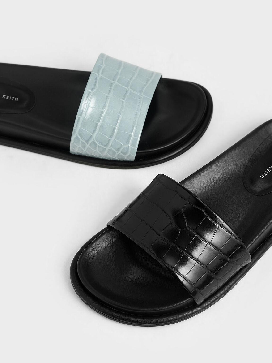 Croc-Effect Slide Sandals, Black, hi-res