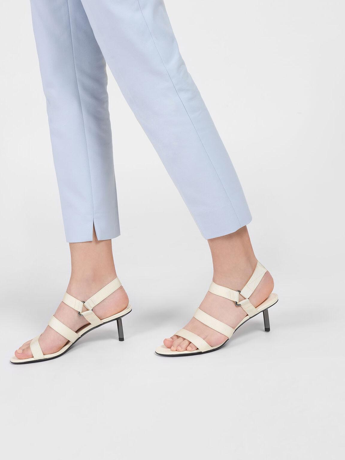 Triple Strap Velcro Sandals, Cream, hi-res
