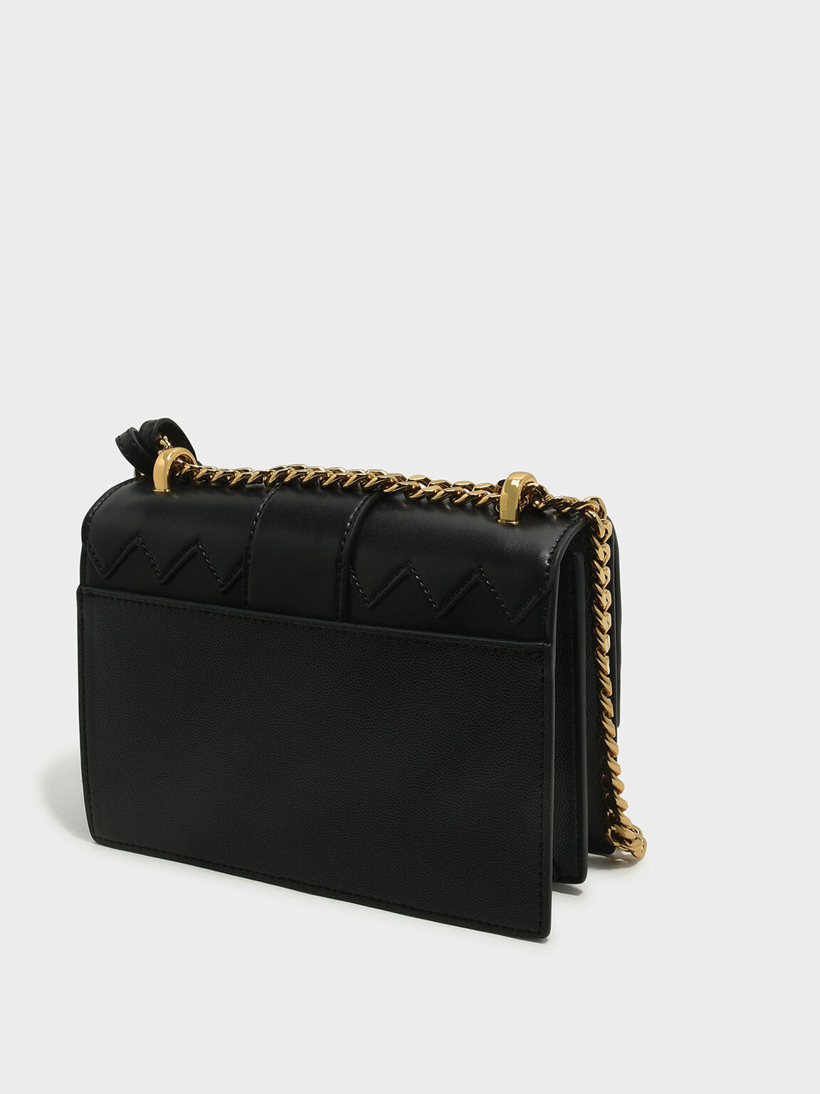 Front Flap Chain Strap Crossbody Bag, Black, hi-res