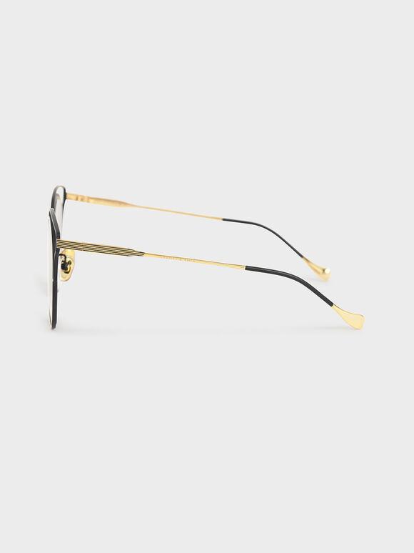 縷空蝴蝶框墨鏡, 黑色, hi-res