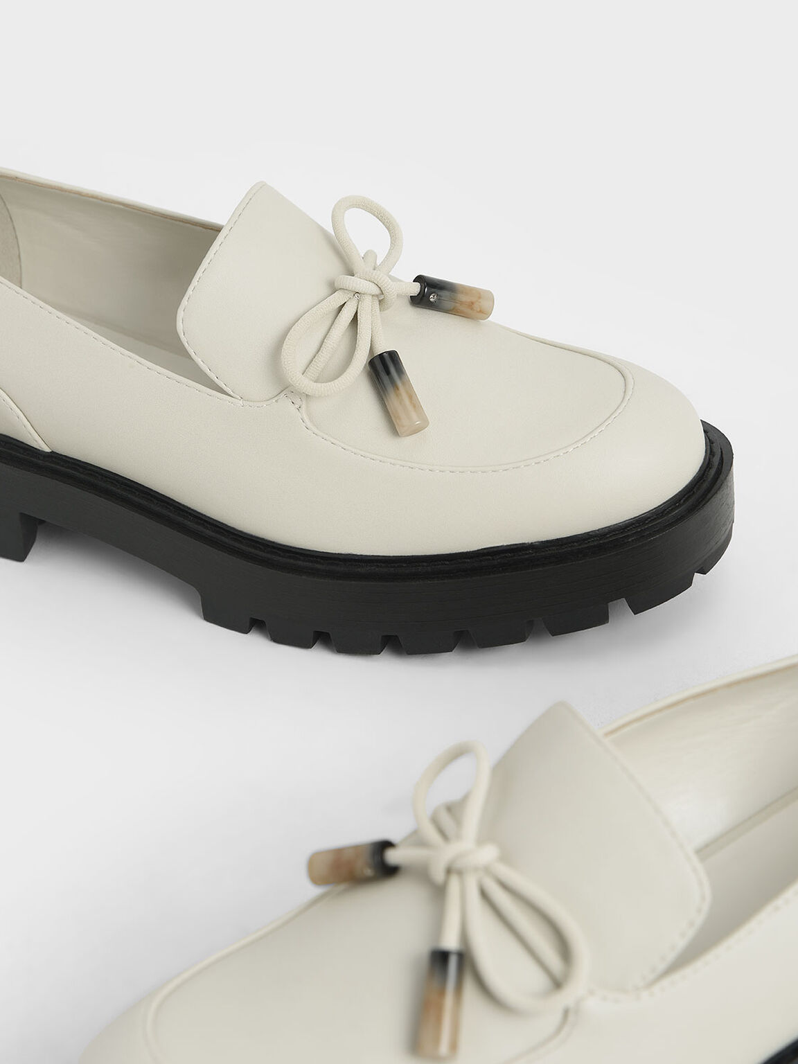 Embellished Bow Loafers, Chalk, hi-res