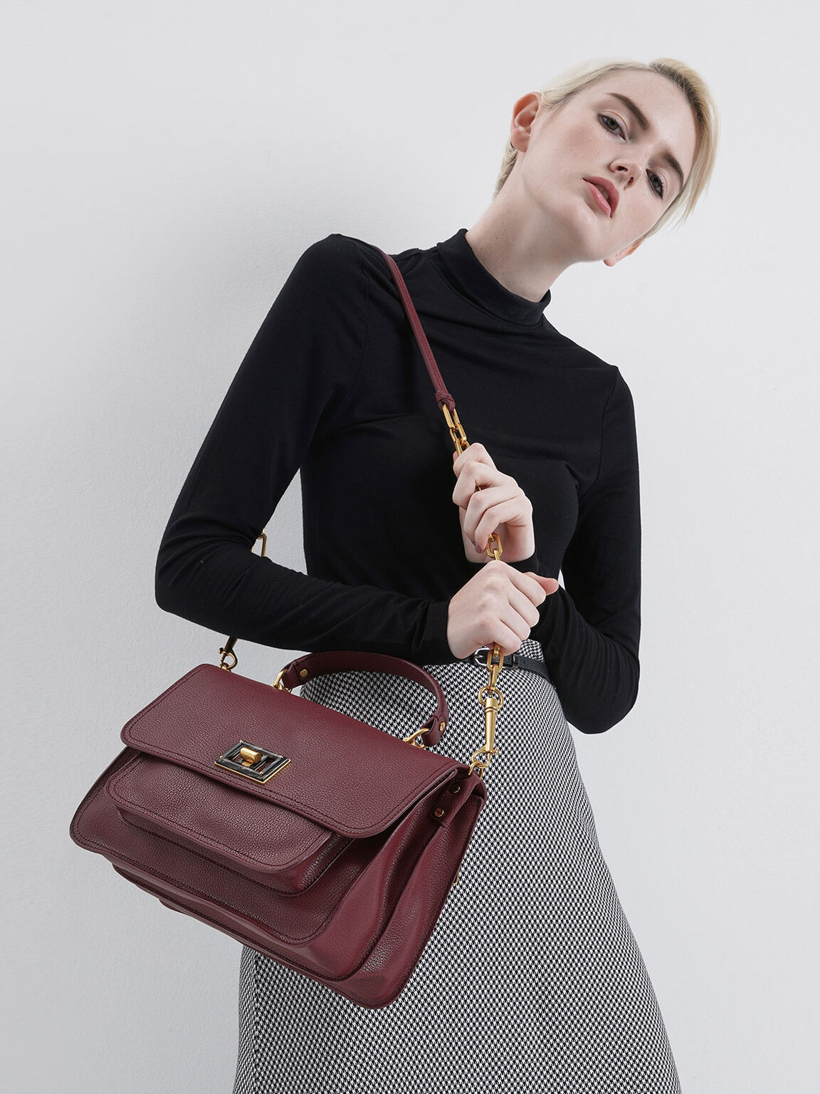 Large Resin-Effect Buckle Bag, Burgundy, hi-res