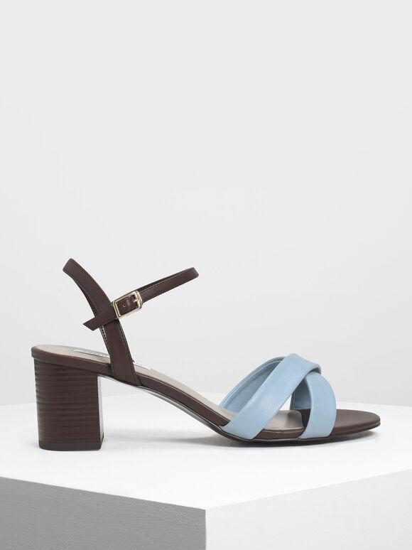 Criss-Cross Two Tone Block Heel Sandals, Blue, hi-res
