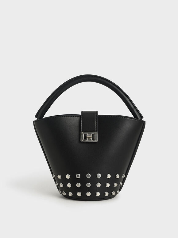 Studded Bucket Bag, Black, hi-res