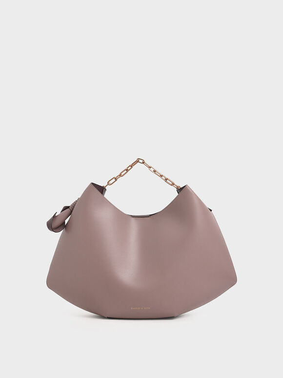 Large Chain Handle Hobo Bag, Mauve, hi-res