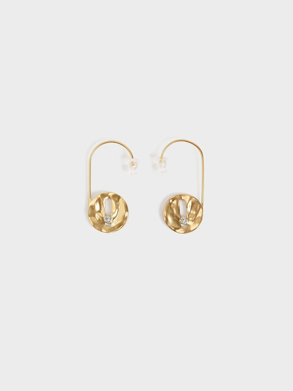 Medal Drop Earrings, Brush Gold, hi-res