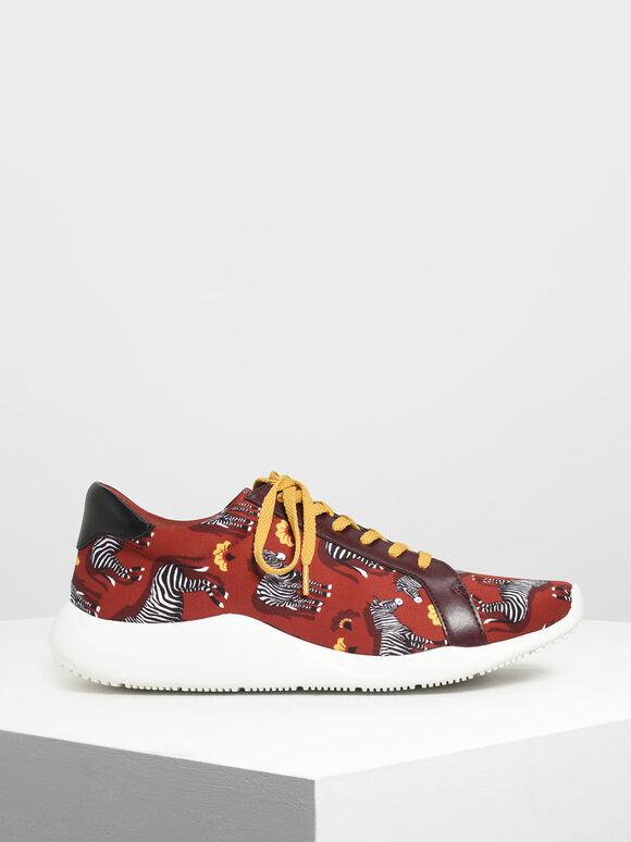 Zebra Print Fabric Sneakers, Red, hi-res
