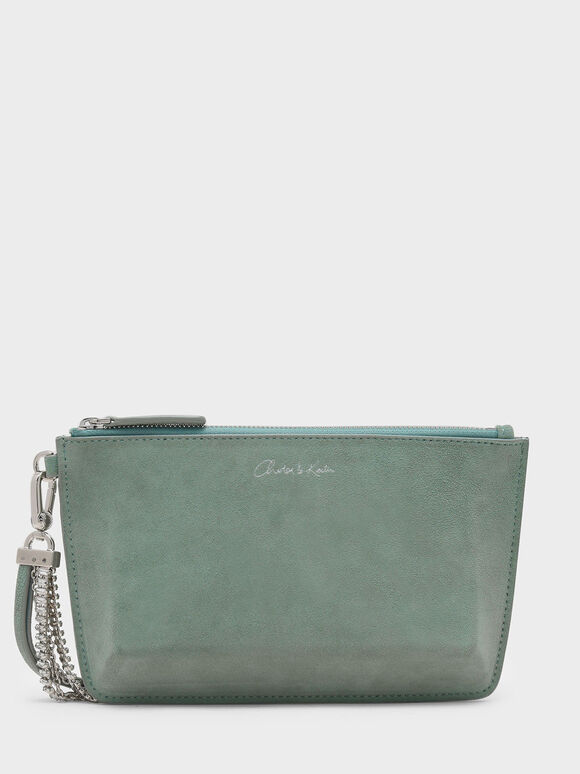 Top Zip Leather Clutch, Green, hi-res