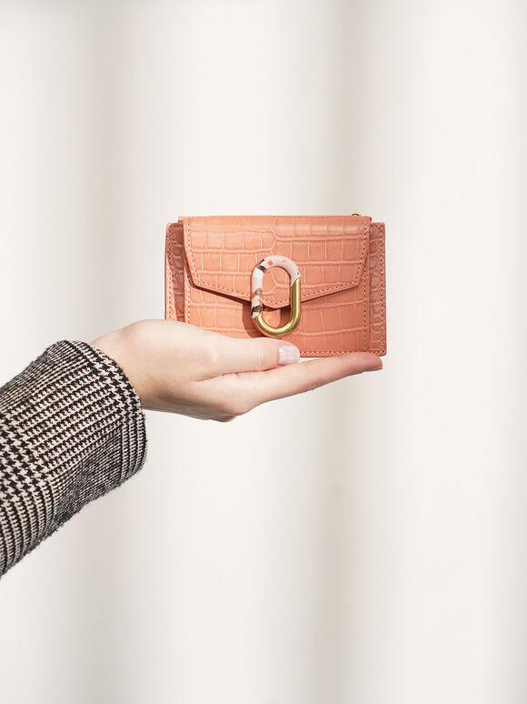 Croc-Effect Stone-Embellished Card Holder, Peach, hi-res