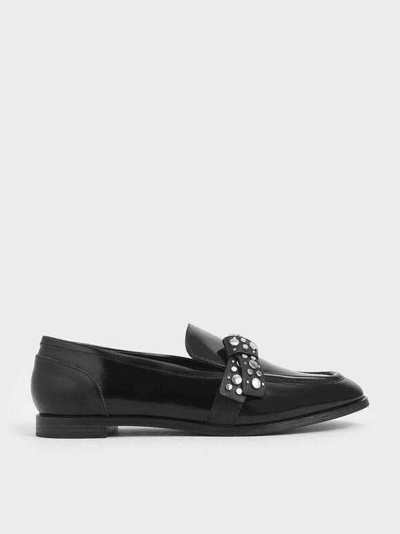 Leather Embellished Strap Loafers, Black, hi-res