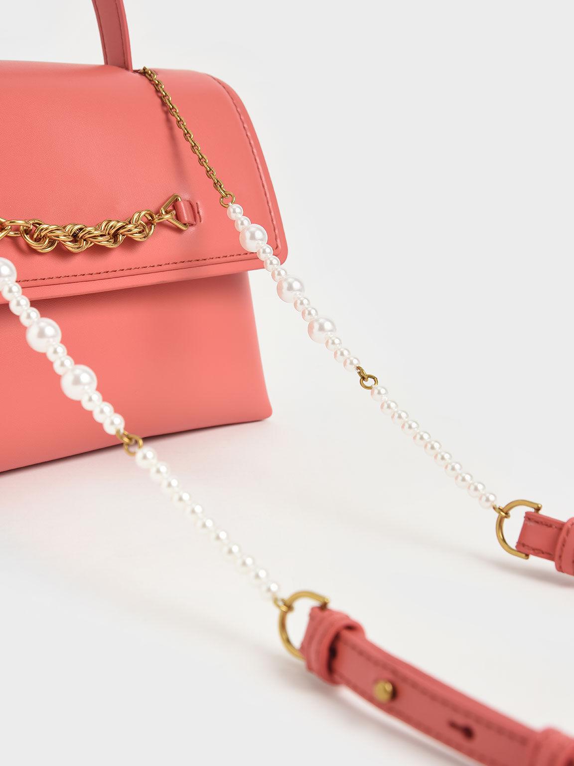 金屬鍊手提梯形包, 珊瑚色, hi-res