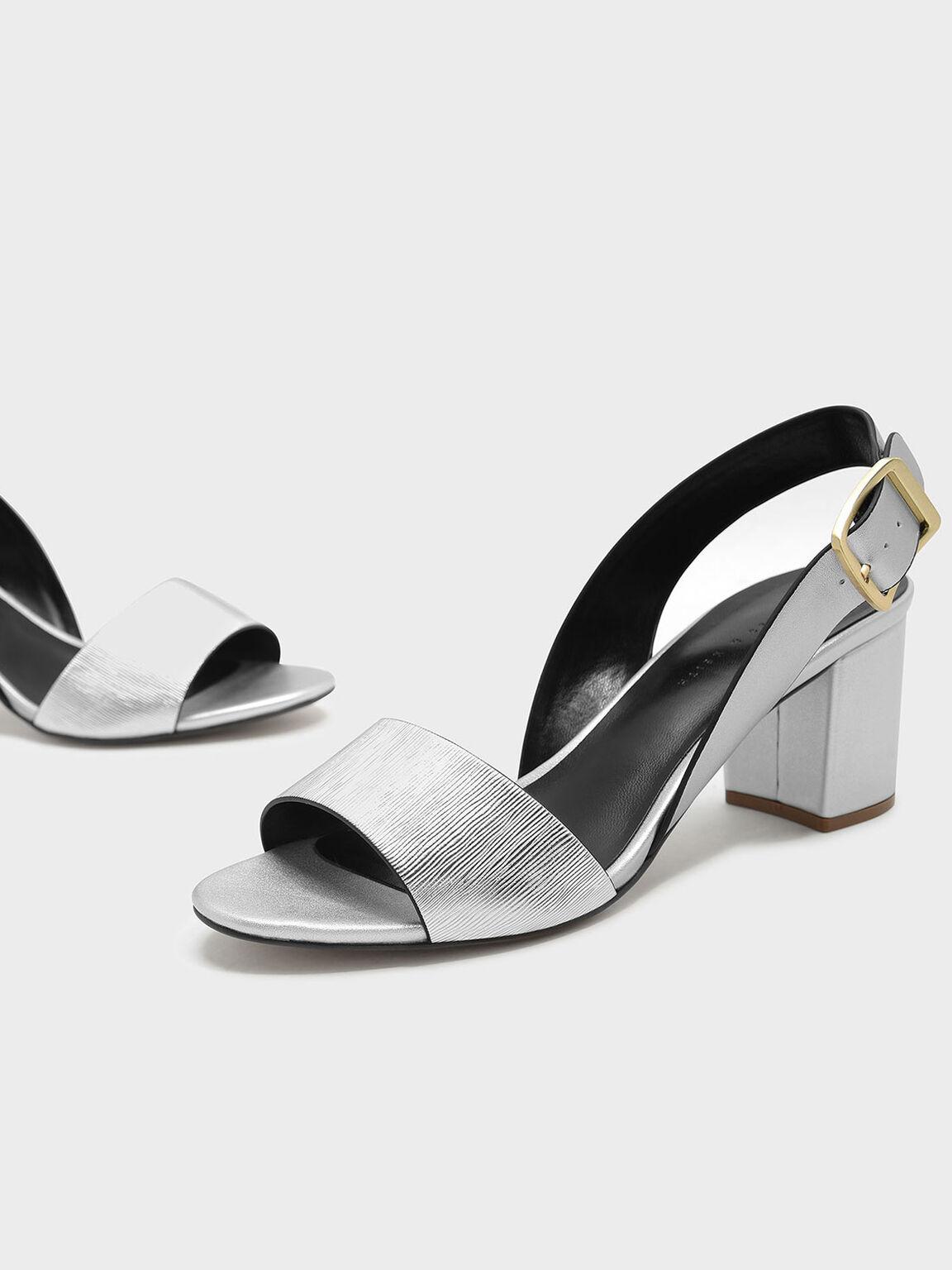 Sling Back Heels, Silver, hi-res