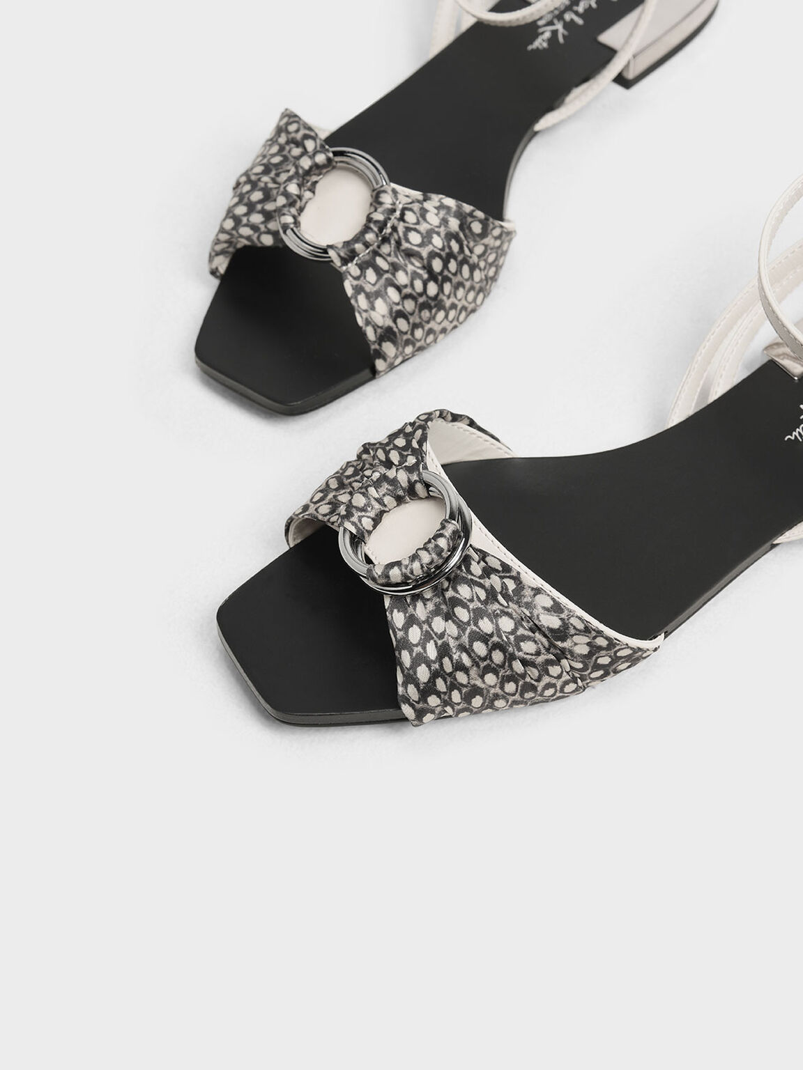 Ring Detail Snake Print Leather Strappy Sandals, Cream, hi-res