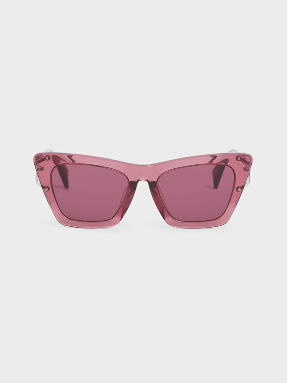 Acetate Butterfly Sunglasses, Purple, hi-res
