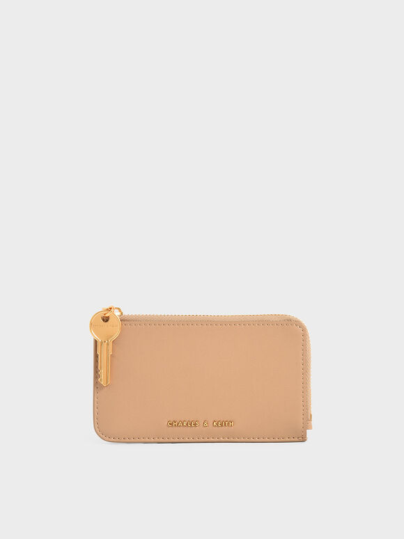Zip Around Mini Wallet, Beige, hi-res