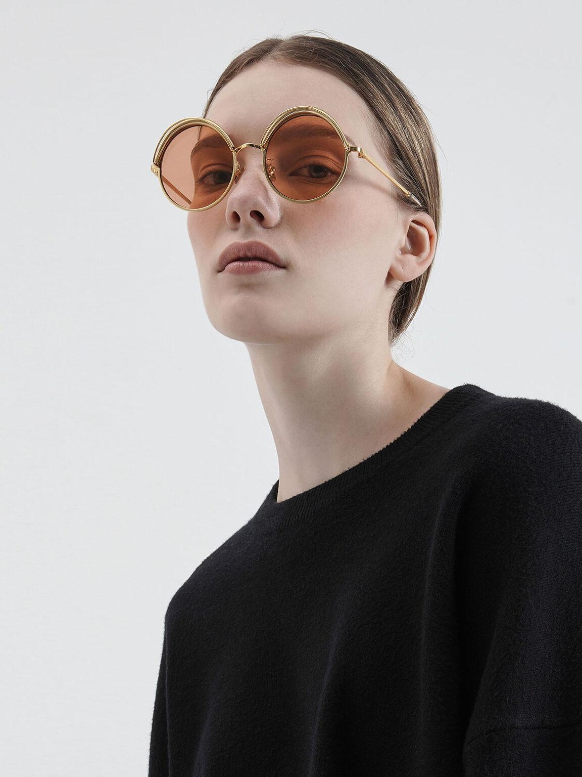 Half Rim Round Sunglasses, Orange, hi-res