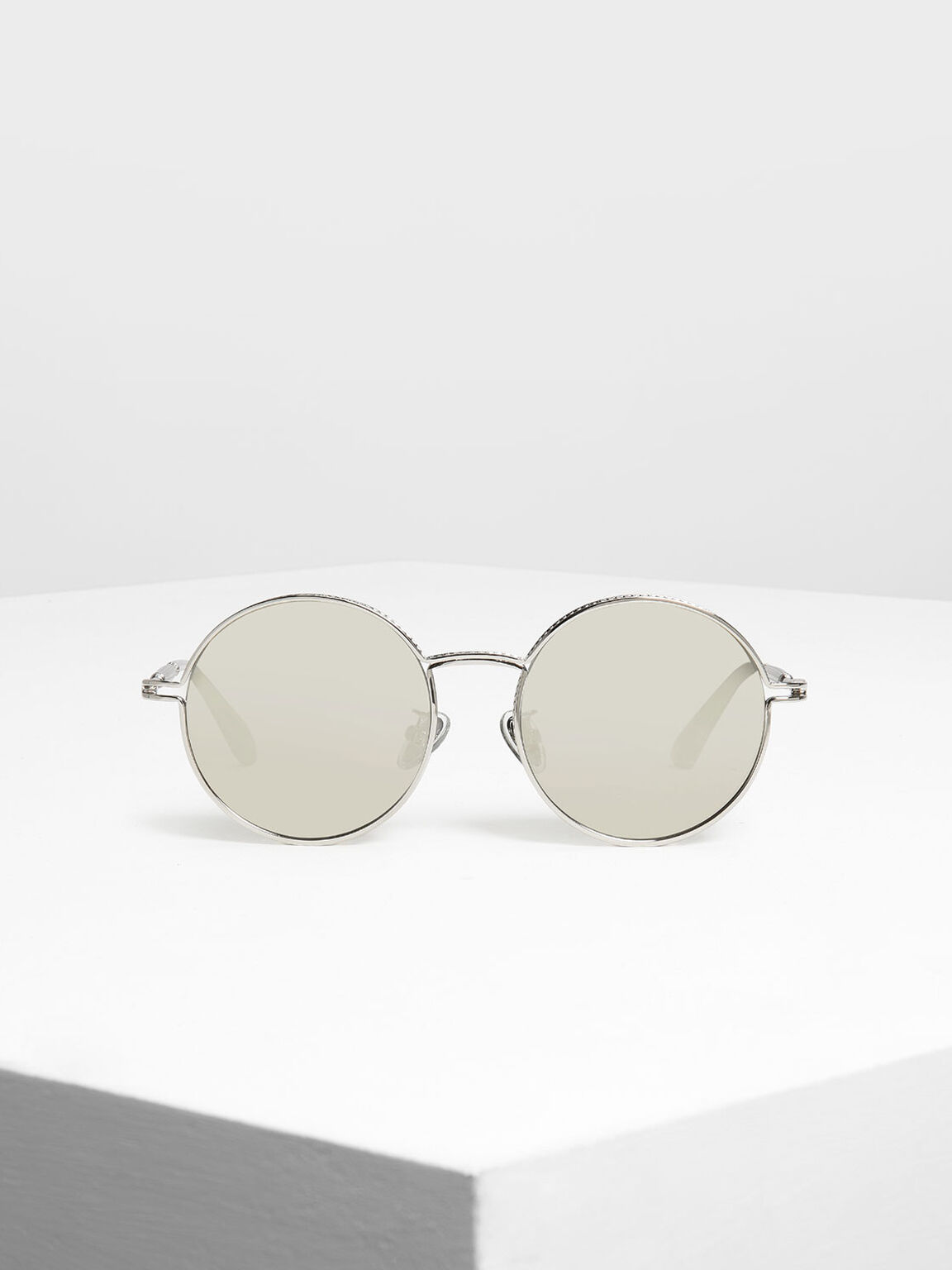 Round Framed Sunglasses, Silver, hi-res