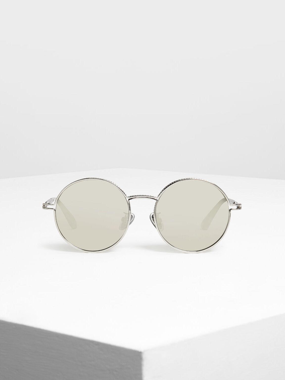 라운드 프레임 선글라스, Silver, hi-res