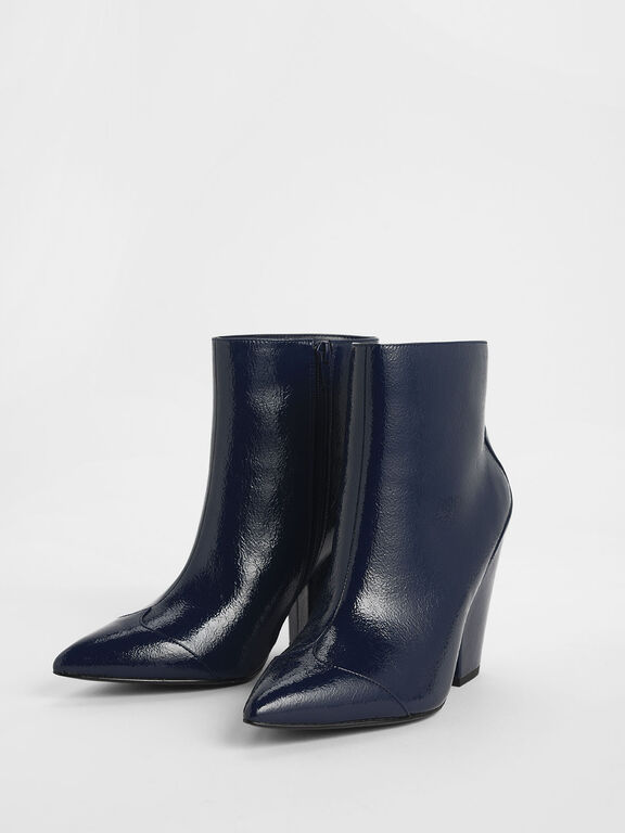 Wrinkled Patent Zip-Up Chunky Heel Ankle Boots, Blue