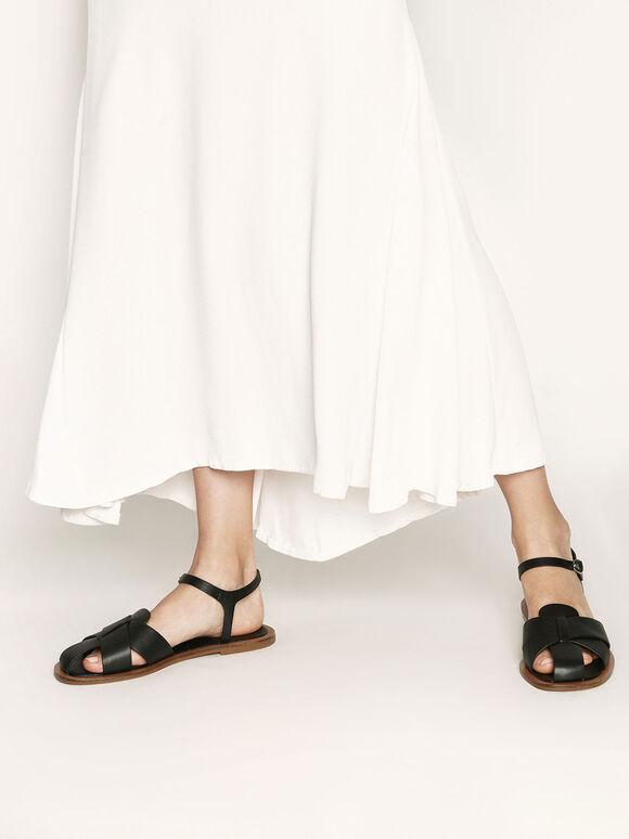 Peep Toe Flat Sandals, Black, hi-res