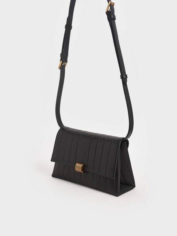 Panelled Crossbody Bag, Black, hi-res