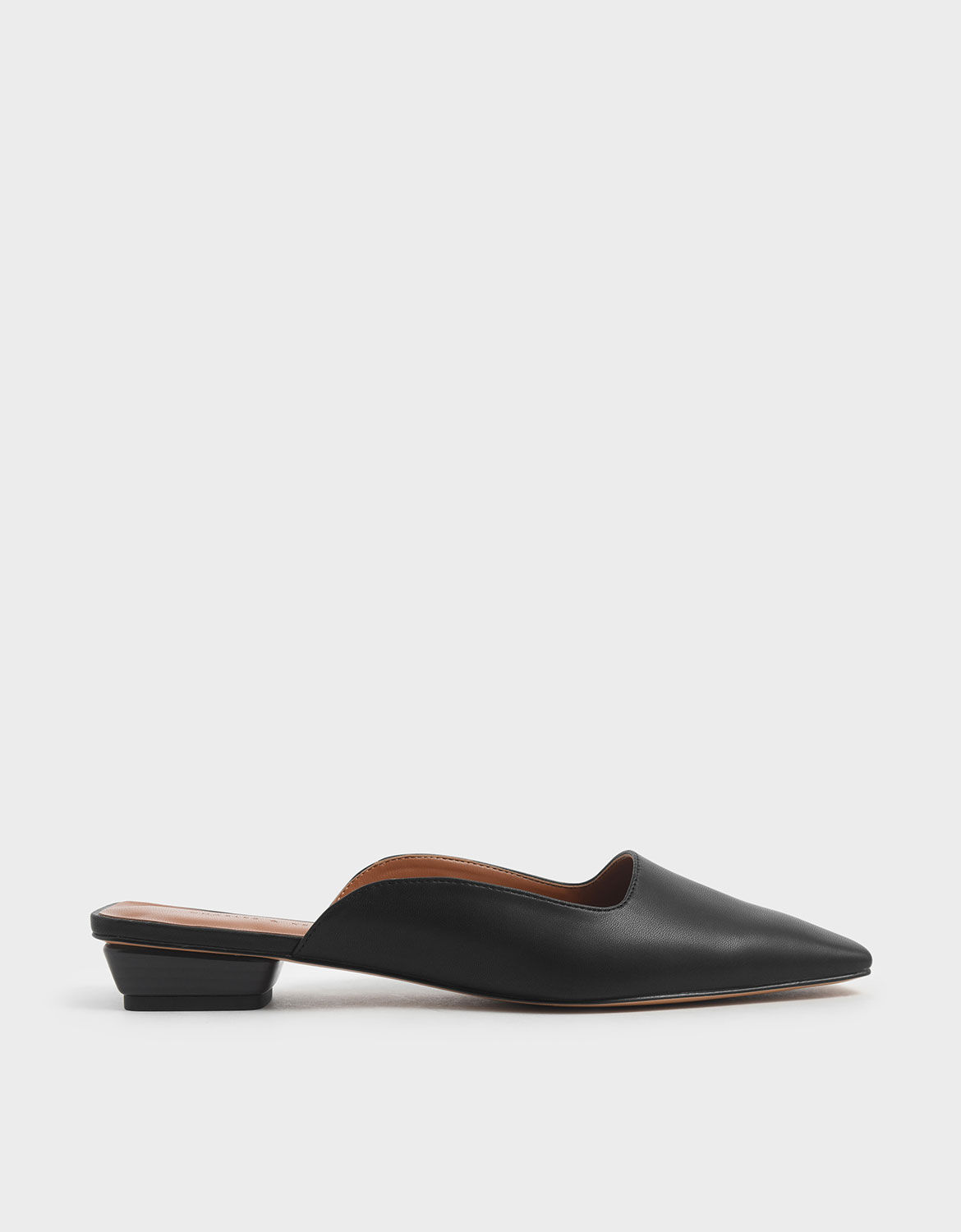 Black Square Toe Stacked Heel Mules