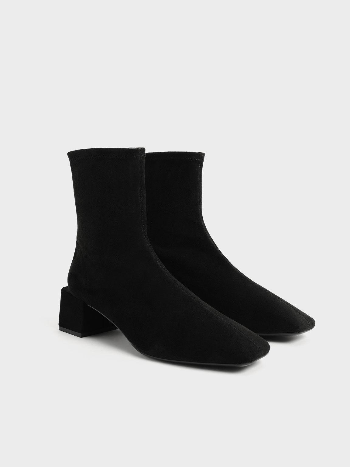 Textured Block Heel Zip-Up Ankle Boots, Black Textured, hi-res