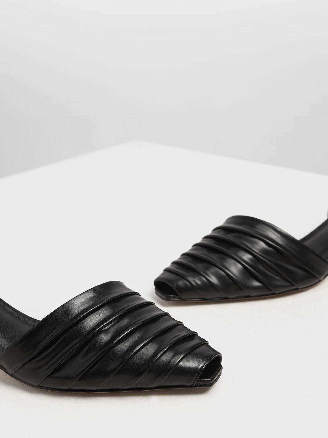 Ruched Peep Toe Slingback Heels, Black, hi-res