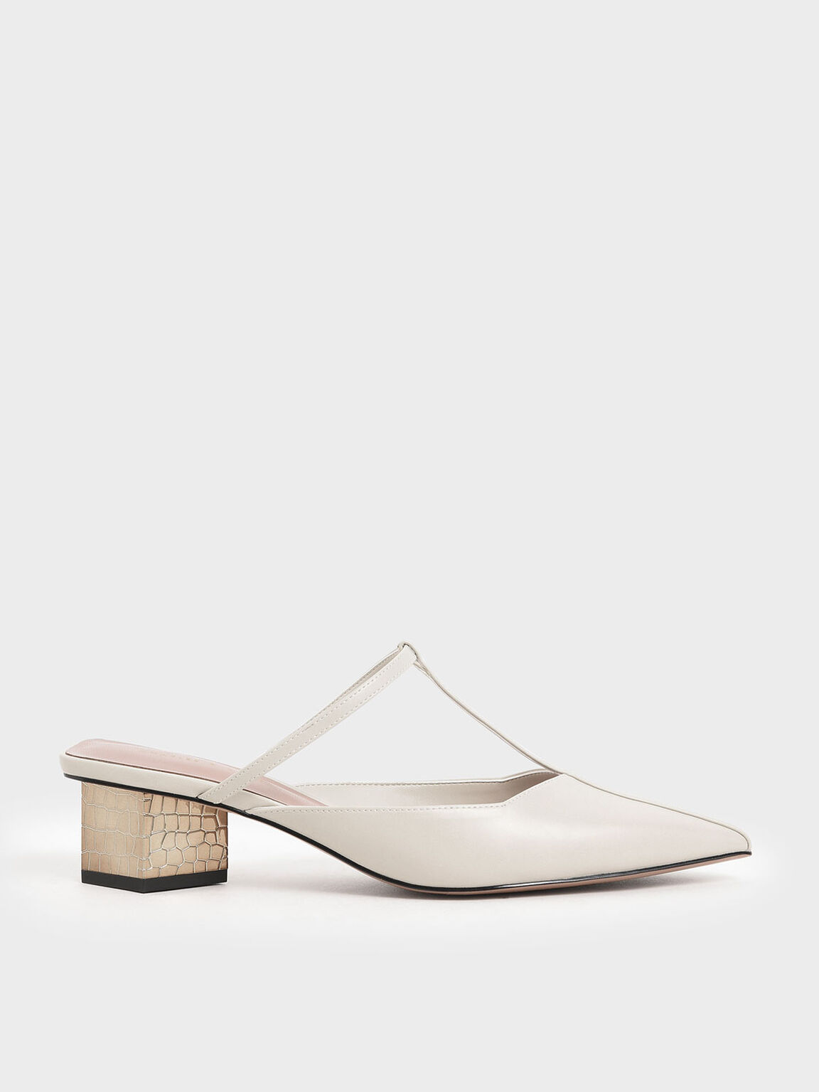 T-Bar Chrome Heel Mules, Chalk, hi-res