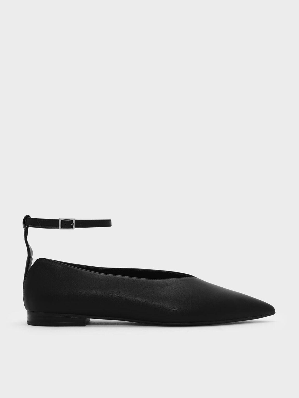 V Topline Ankle Strap Flats, Black, hi-res