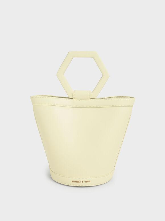 幾何手提水桶包, 黃色, hi-res