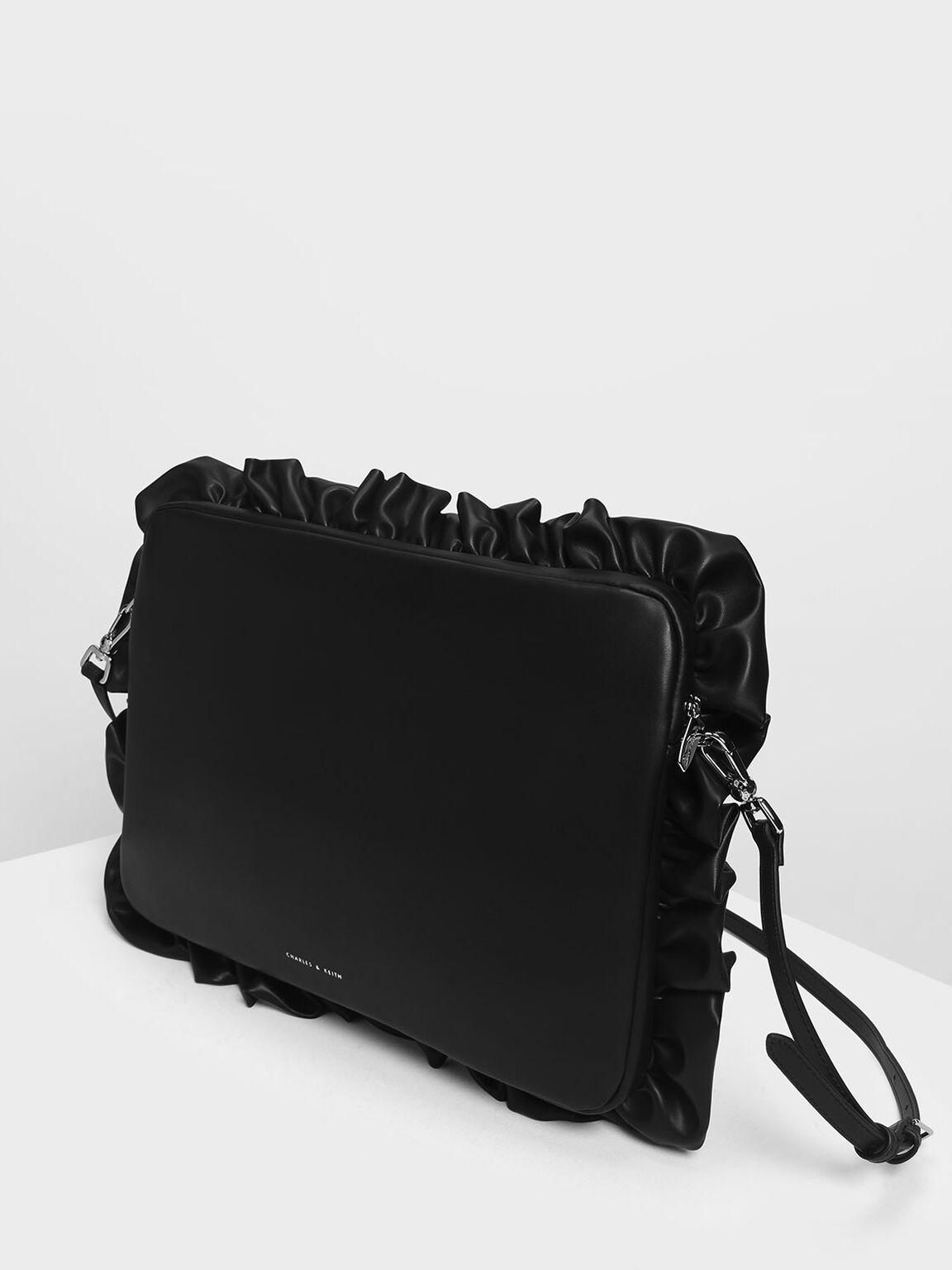 Ruffle Detail Laptop Bag, Black, hi-res