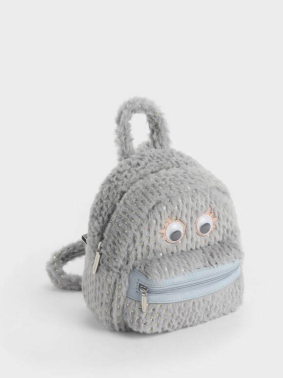 Girls' Furry Character Backpack, Light Blue, hi-res