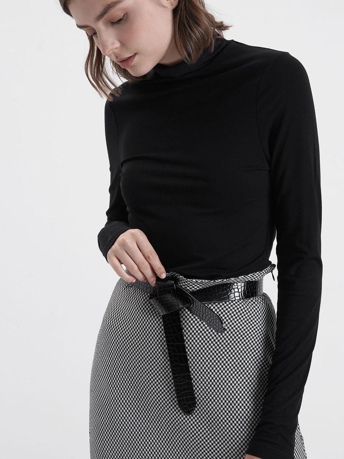 Croc-Effect Reversible Knot Belt, Black, hi-res