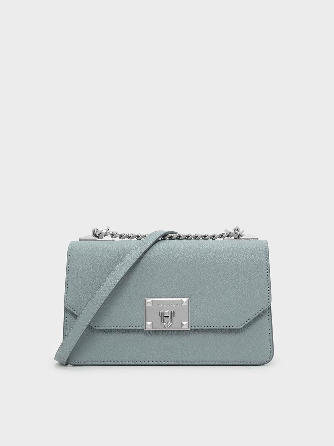 Classic Front Flap Crossbody Bag, Slate Blue, hi-res