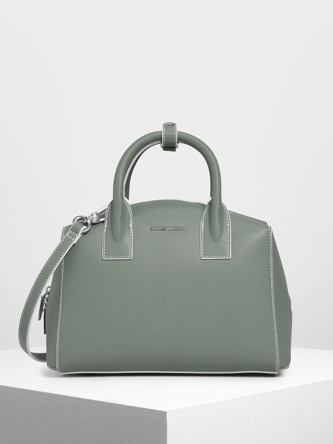 Classic Structured Top Handle Bag, Moss, hi-res