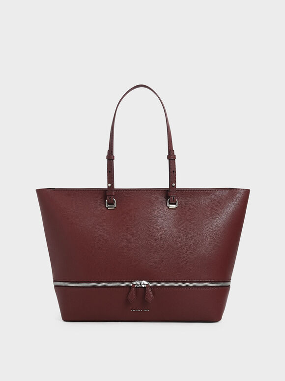 Two-Way Zip Large Tote, Burgundy, hi-res
