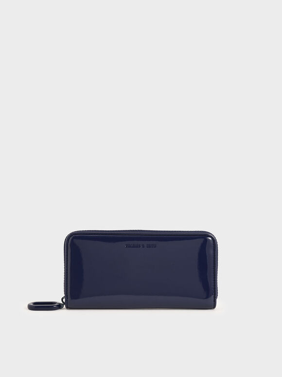 Patent Zip-Around Long Wallet, Dark Blue, hi-res